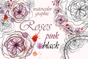 Dusty rose peony. Graphics Set