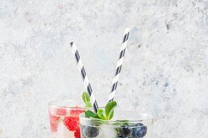 Cold raspberry blueberry drinks