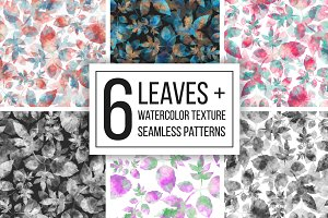 Leaves + watercolor texture patterns