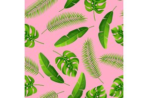 Seamless pattern with tropical palm leaves. Exotic tropical plants. Illustration of jungle nature