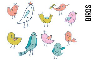Pastel Bird Doodle Clipart