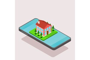 isometric house and smartphone