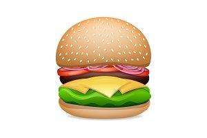 Vector Realistic Hamburger Classic Burger