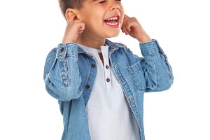Surprised child with denim shirt