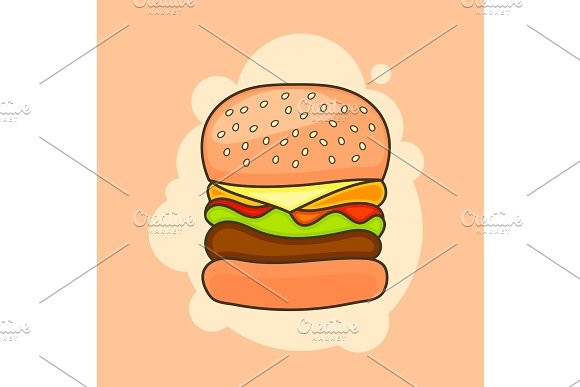 Cartoon tasty big hamburger with cheese and sesame seeds.