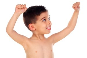 Winner child raising his arms