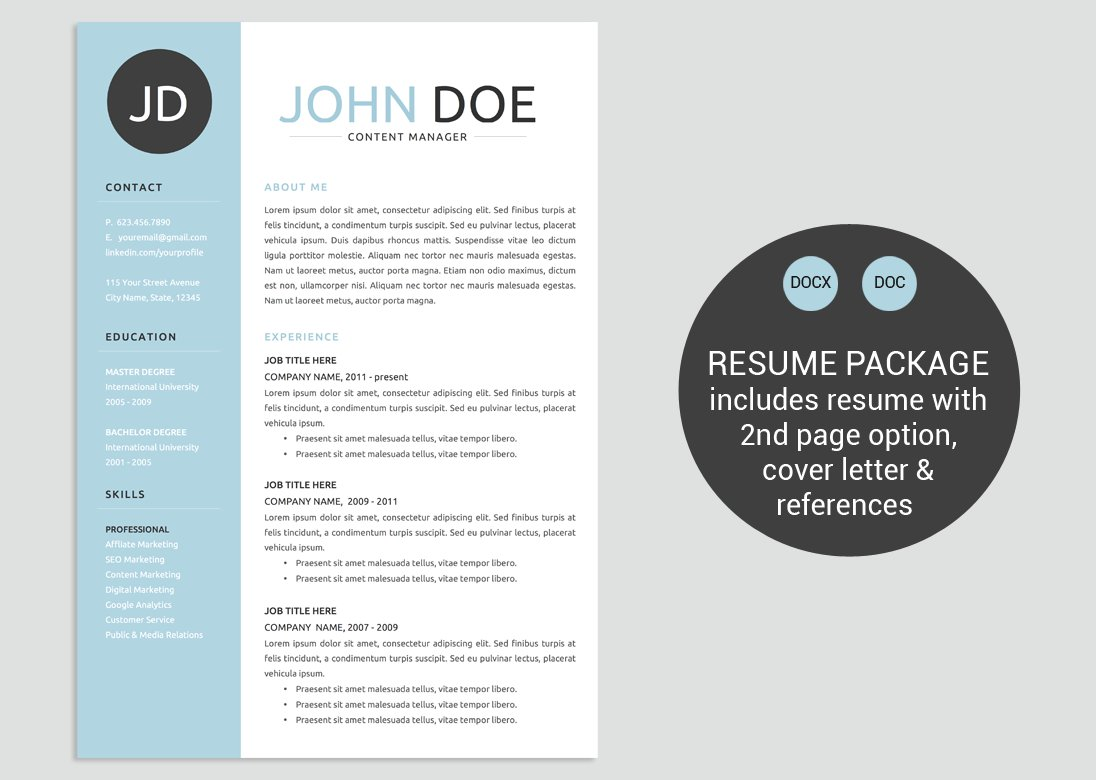 Classic Blue Word Resume Template ~ Resume Templates ~ Creative Market