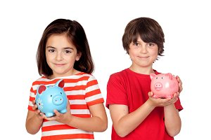 Two children with a money-box saving