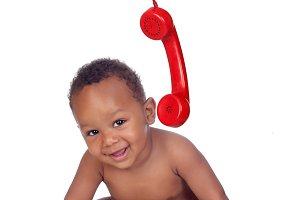 Baby calling at phone