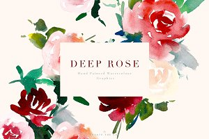 Watercolour Flowers - Deep Rose