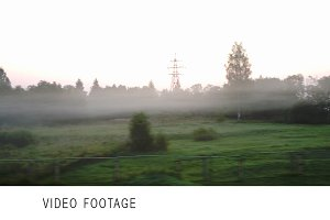 Passing by countryside in a fog