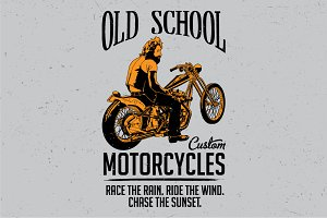 Old school custom motorcycles