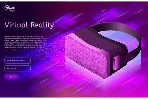 Isometric virtual reality concept in ultraviolet colors. VR headset. Vector illustration