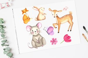 Watercolor Woodland Clip Art Set