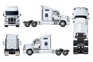 Vector semi-truck template isolated on white