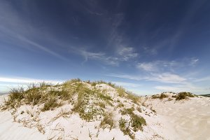 dunes with blue sky in Razo beach
