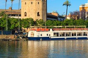 Evening Seville city view (Spain).