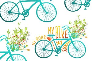 Vintage Summer Bike with Flowers