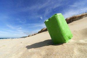 plastic containers in Razo beach