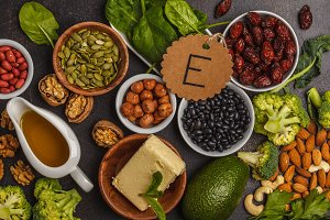Assortment of high vitamin E sources