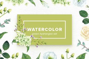 Watercolor Green Hydrangea Set