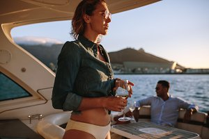 Woman at private boat party