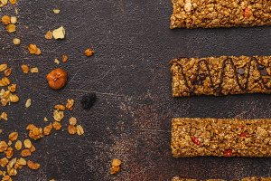 Granola bars and ingredients.