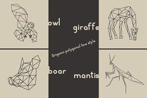 Origami owl, giraffe, boar, mantis.