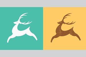 Jumping deer logo template.
