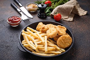French fries and chicken nuggets
