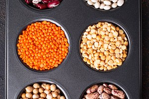Chickpeas, red lentils, yellow peas and beans.