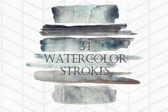 34 Moody Watercolor Brush Strokes