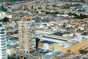 Aerial view of sunny summer Brighton. Residential and office buildings.