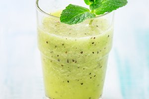 Healthy green kiwi smoothie