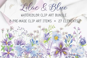 Lilac and blue watercolor bundle