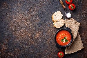 Tomato soup gazpacho in stewpan