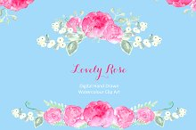 Lovely Roses watercolor clip art