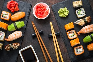 Sushi, maki, nigiri and sushi roll set top view
