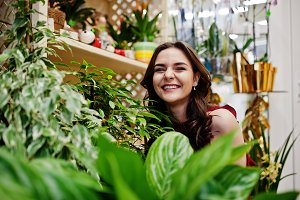 Girl at flower store.