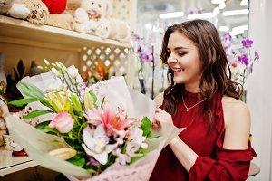 Girl at flower store.