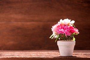 white artificial flower pot