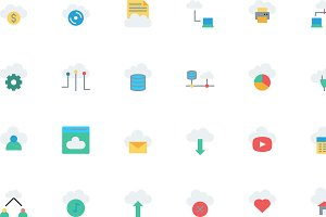 Cloud Computing Flat style icon set