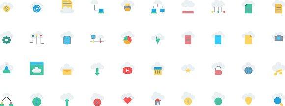 Cloud Computing Flat Style Icon Set