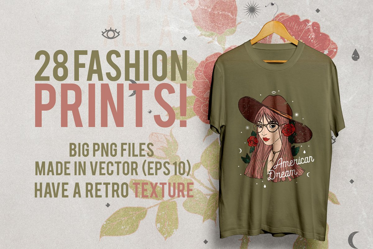 c69cbedf 28 Fashion T-Shirt Designs ~ Illustrations ~ Creative Market