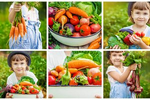 Child and vegetables.