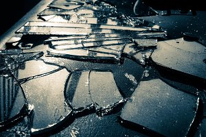 Broken mirror glass background photo