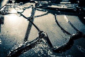 Broken mirror glass background