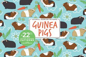Seamless pattern with guinea pigs