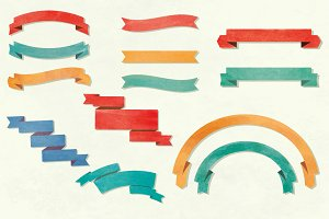 Watercolor vector ribbons
