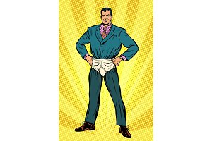 superhero businessman in funny pants diapers